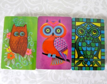 Vintage Unused Owl Playing Cards Decks, Kitsch Owl SWAP Card Decks, Owl Card Games, 3 Decks of Cards, 70s SWAP Cards, FREE Priority Ship