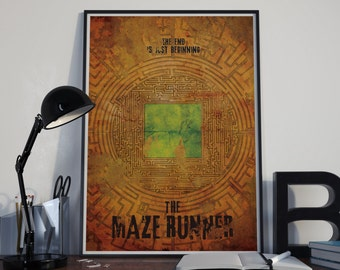 The End is the Beginning // Maze Runner - Vintage Textured Alternate SciFi Movie Poster // Stone Maze and Glade Illustration