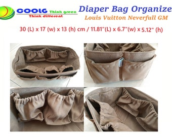 Diaper Bag Organizer Insert For LV Neverfull GM 30x17cm totes bag / Made to order / Faux Suede light brown + FREE Pacifier Holder
