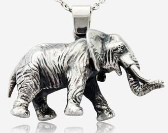925 Silver African Indian Asian Elephant Pendant Pendentif Éléphant Africain Indien Asiatique en Argent