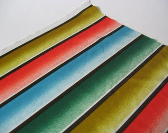 Wide slinky mod fading graphic stripes red gold blue green vintage fabric polyester nylon 1 yard available