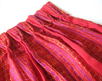 Spectacular red purple magenta green orange wide netted vintage embroidered woven curtain panel pinch pleats