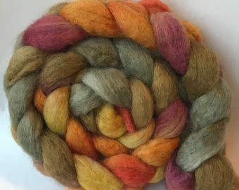 Mixed BFL and silk spinning top Naked Branch, roving, blue faced leicester