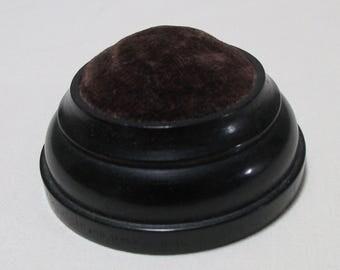 Marked Ebony Pin Cushion - Victorian - Brown/Piurple Inset - CS10FN