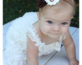 Ivory  Lace ROMPER  with Headband....you can customize headband colors...Photo Prop,  Baptism, Flower Girl, Wedding, Party Dress