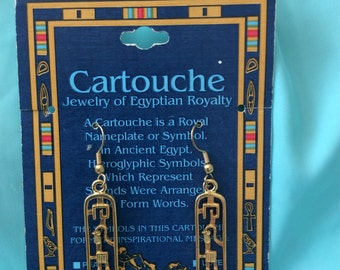 Hieroglyphics earrings Egyptian/pierced goldtone cartouche translation: hope/Bird etc.
