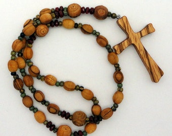 Bethlehem Olive Wood Protestant / Anglican Prayer Beads with Zebra Wood Cross