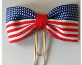 Planner clip, bookmark, planner bow clip, bow bookmark, 4th of July bow, American flag, red white and blue bow clip
