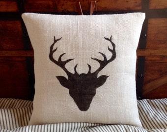 Burlap Deer Antlers Pillow, Rustic Cabin Burlap Stag Pillow Cover