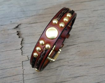 Horse Hair And Leather Bracelet with Solid Brass Hardware and Buckle - Braided Horsehair
