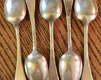 5 Silver Plate Serving Spoons or Soup Spoons