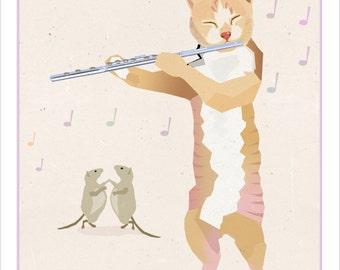 Flute Playing Cat - print - Whimsical animal art print - Funny cat art - Musical animals Funny Pets
