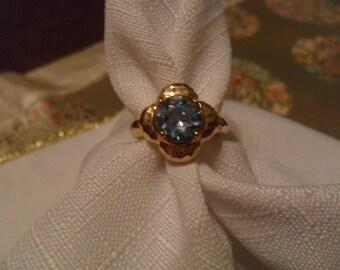 Vintage Blue Topaz Gold Vermeil Ring Size 7