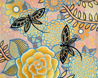 Dragonflies and Flowers #2 - Original Painting