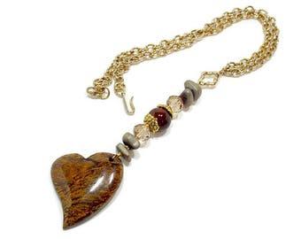 Boho Chic Heart Necklace, Bohemian Heart Necklace, Large Heart Pendant, Heart Tassel Necklace, Stone Heart Pendant, Gift For Her, Earthtones