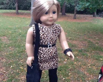 18 Inch Doll Clothes Corduroy Animal Print Sheath Dress with Necklace, Belt, Purse and Leggings