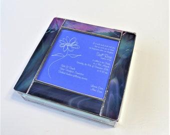 Stained Glass Keepsake Bat Mitzvah Invitation Gift Box 8x8x2 Jewelry Box Photograph Custom Made-to-Order