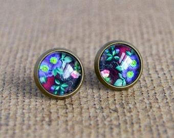 flower stud earrings, post earrings, purple flower, floral jewelry, romantic jewelry, gift for her, photo jewelry