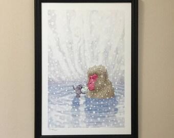 SNOW MONKEY TEA giclee print