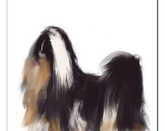 Tibetan Terrier Dog Illustration-Pop Art Print