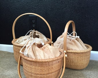 vintage linen drawstring woven sewing wicker rattan basket with handle / picnic basket