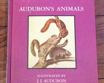 Vintage 1968 Audubon's Animals & Birds Dandelion Library Children's Book, Two In One Book, Vtg Children's Illustrated Animal and  Bird Book