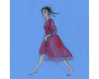 Woman Running drawing original art people figurative portrait girl ooak