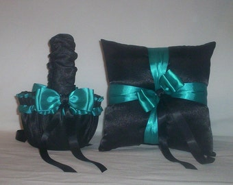 Black Satin With Teal Ribbon Trim Flower Girl Basket And Ring Bearer Pillow Set 1