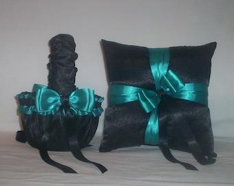 Black Satin With Teal Ribbon Trim Flower Girl Basket And Ring Bearer Pillow Set 1