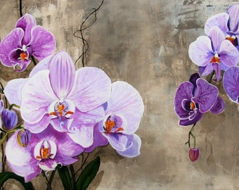 "ORCHIDS flowers Purple, blossoming, Zen large size format Canvas Original Painting wall Art, 30""x 48"", Free Shipping in USA."