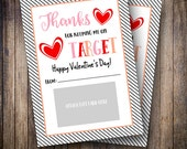 Printable 5x7 Thank You Gift Card Holders, Valentine's Day, Target Gift Card, Target Teacher's Gifts - Stacked Hearts - INSTANT DOWNLOAD
