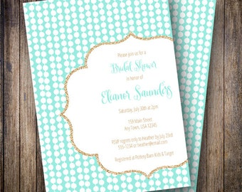 Glitter Dots Baby Shower Invitation, Printable Baby Shower Design, Modern Dots, Gold Glitter - Glitter Dots in Teal and Faux Gold Glitter