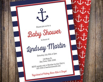 Nautical Baby Shower Invitation, Anchor Baby Shower Design, Anchors Aweigh, Boy Baby Shower Invite - Nautical Anchor in Navy and Red