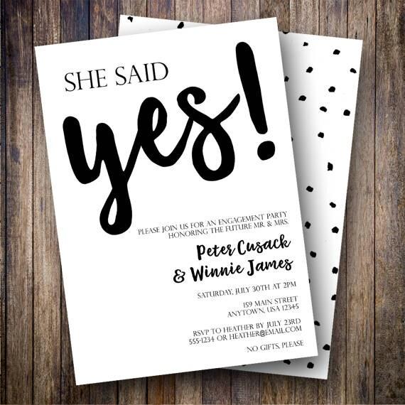 She Said Yes Invitation Engagement Party Invitation Minimalist