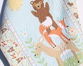 Quilt, FLANNEL Baby Boy or Girl Bedding, Woodland Forest, Bears Fox Deer, Outdoor Nature, Nursery Crib Blanket Grey Gray Blue Green Meadow