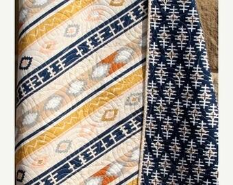 Aztec Baby Quilt, Boy, Tribal Modern Trendy, Grey Gold Blue Navy Blue, Baby Bedding Nursery Blanket Stripe Serape Southwest Ready to Ship