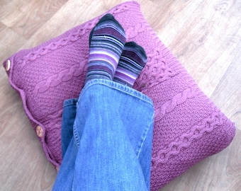 Pink Cushion / Pillow Throw . Recycled raspberry pink cable cover knitted with flowery wooden buttons. Upcycled