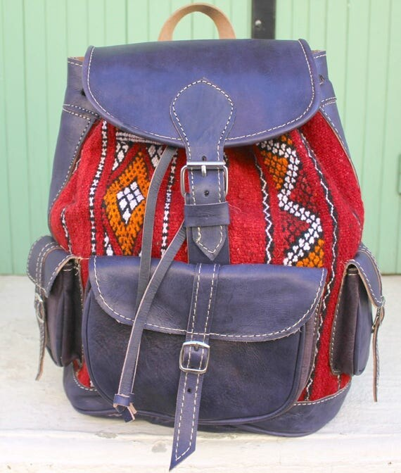 SALE Leather backpack, kilim bag, kilim backpack, laptop bag sac a dos, sac a dos cuir