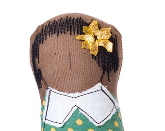 Illustration doll , African America Doll , Portrait dolls , Big Sister , fabric portrait , girl doll , mini me , fiber art , nursery art