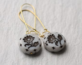 Fifties Flower Earrings ... Black and White Vintage Handpainted Glass