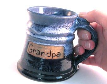Grandpa Stein - 12 oz. Tankard - Stein - Coffee Mug - Handmade Pottery - Pottersong Pottery - Cobalt Blue - Frosted Blue