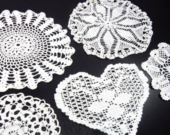 French Vintage Hand Crocheted Doilies