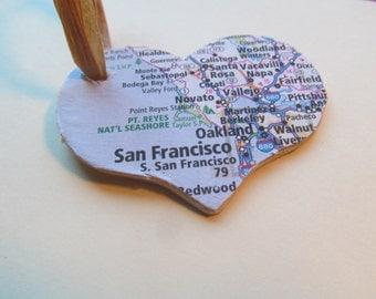 San Francisco, California Heart Ornament -- Atlas, Upcycled