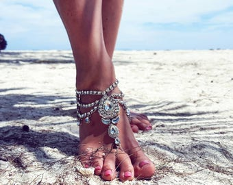 Beach Wedding Barefoot Sandals,Bridal Foot Jewelry,Boho Slave Anklet,Wedding Anklet,Bridesmaid Accessories,KEEVA  design