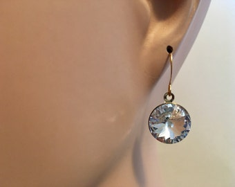 Crystal Clear Swarovski Rivoli Gold Drop Earrings