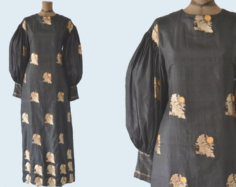 1960s Carrie Naylor Black Silk and Gold Dress size M/L