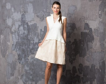 Sale Felted dress white beige mix, felting wool, fall autumn fashion, party clothing, bridesmaid wedding idea, ooak eco friendly