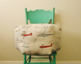 Airplane pouf,  Vintage airplane, Man cave decor, transportation, airplane pillow, foot stool, ottoman, floor cushion, travel lovers gift
