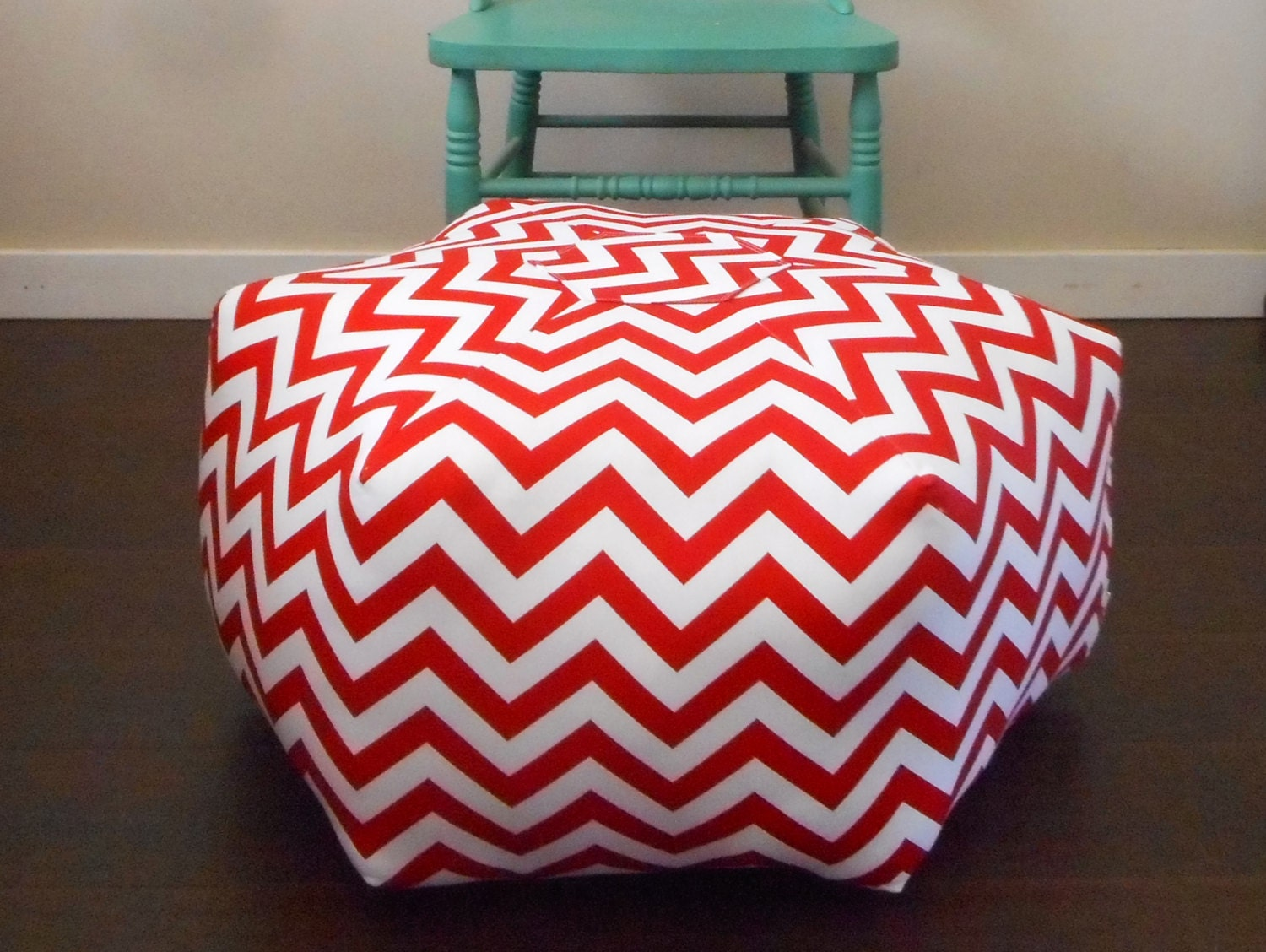 Giant Chevron Floor Pillows : Pouf Ottoman / Floor Pillow / Red Chevron / Large Floor Pouf