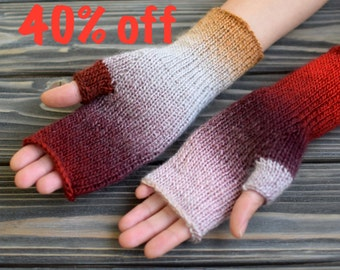 40% OFF Fingerless Gloves (Wrist Warmers, Fingerless Mittens, Fingerless Mitts) - Multicolor With Bordo And Frosty Gray